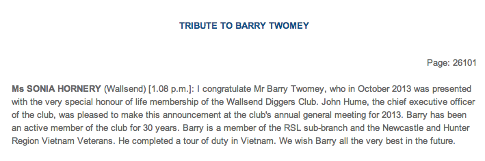 CRS - Tribute to Barry Twomey